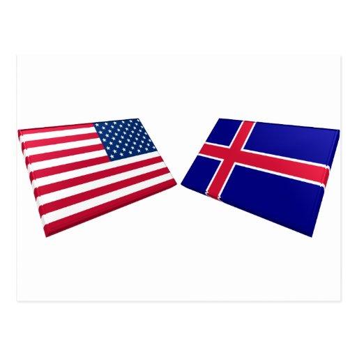 Banderas de los E.E.U.U. y de Islandia Tarjetas Postales