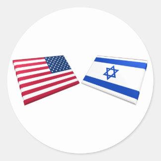 Banderas de los E.E.U.U. y de Israel Pegatina Redonda