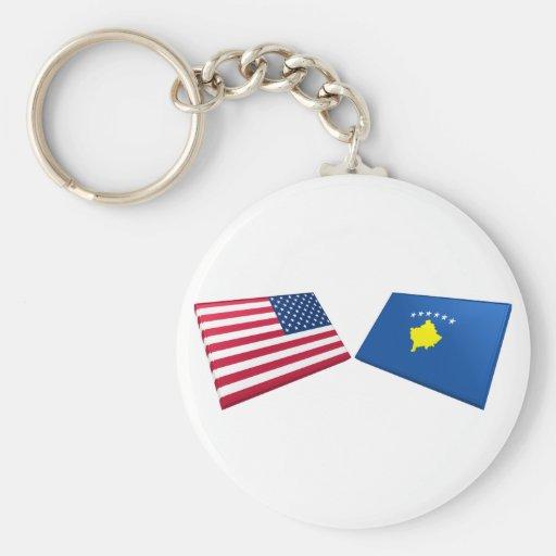 Banderas de los E.E.U.U. y de Kosovo Llavero Redondo Tipo Pin