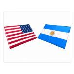 Banderas de los E.E.U.U. y de la Argentina Postal