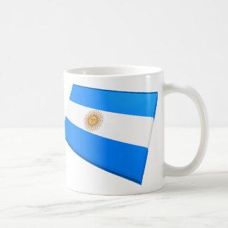 Banderas de los E E U U y de la Argentina Taza De Café