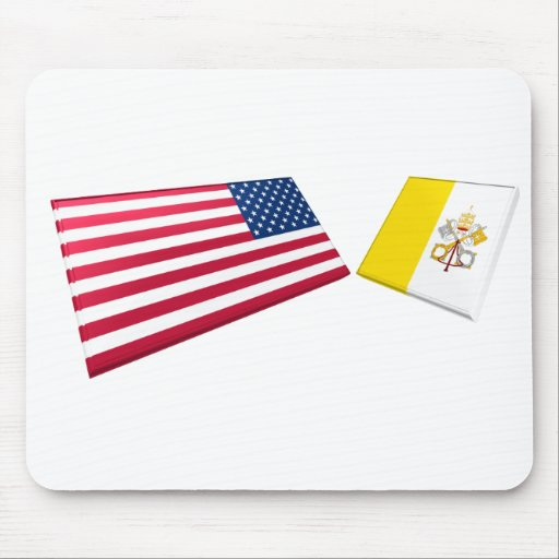 Banderas de los E.E.U.U. y de la Ciudad del Vatica Alfombrillas De Raton