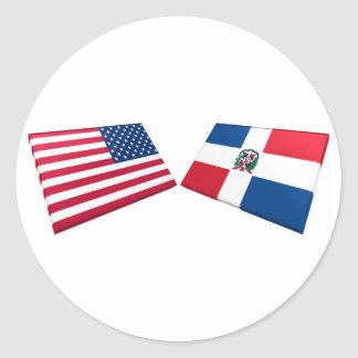 Banderas de los E E U U y de la República Dominic Pegatina Redonda