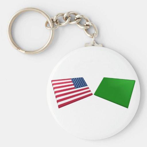 Banderas de los E.E.U.U. y de Libia Llavero