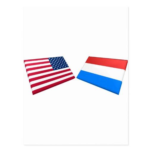 Banderas de los E.E.U.U. y de Luxemburgo Postal