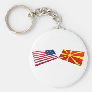 Banderas de los E.E.U.U. y de Macedonia Llavero Personalizado