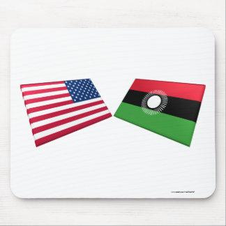Banderas de los E.E.U.U. y de Malawi Tapete De Raton