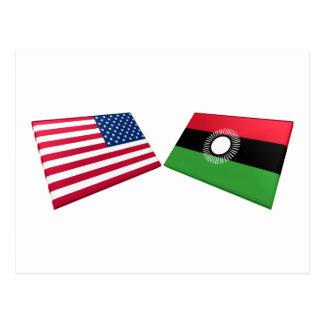Banderas de los E.E.U.U. y de Malawi Tarjeta Postal