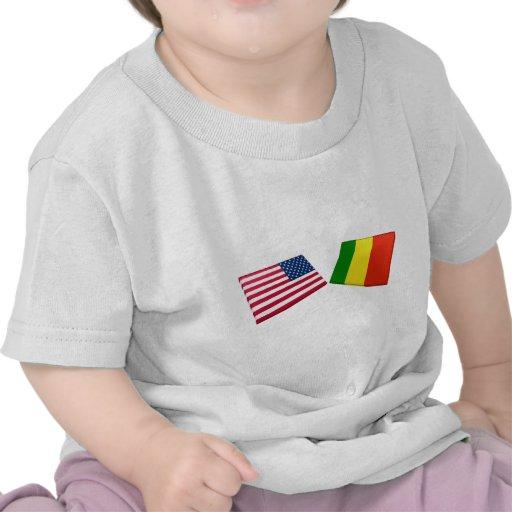 Banderas de los E.E.U.U. y de Malí Camisetas