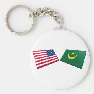 Banderas de los E.E.U.U. y de Mauritania Llaveros Personalizados