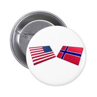 Banderas de los E.E.U.U. y de Noruega Pins