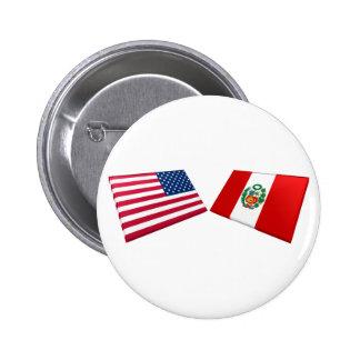 Banderas de los E.E.U.U. y de Perú Pin
