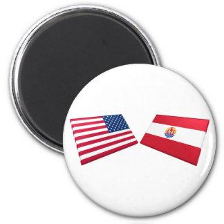 Banderas de los E.E.U.U. y de Polinesia francesa Imán Redondo 5 Cm