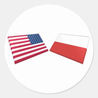 Banderas de los E.E.U.U. y de Polonia Pegatina Redonda