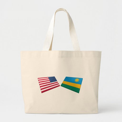 Banderas de los E.E.U.U. y de Rwanda Bolsas Lienzo