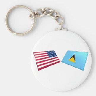 Banderas de los E.E.U.U. y de St Lucia Llavero Redondo Tipo Pin