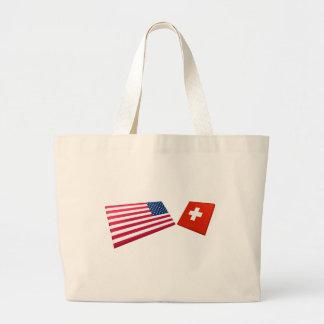Banderas de los E.E.U.U. y de Suiza Bolsas De Mano