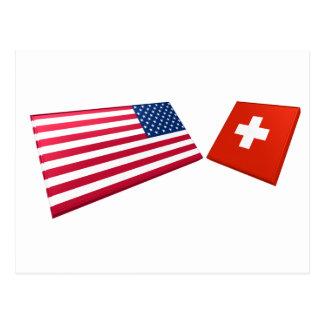 Banderas de los E.E.U.U. y de Suiza Tarjetas Postales
