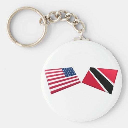 Banderas de los E.E.U.U. y de Trinidad and Tobago Llaveros