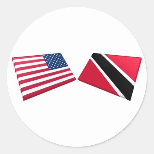 Banderas de los E.E.U.U. y de Trinidad and Tobago Pegatinas
