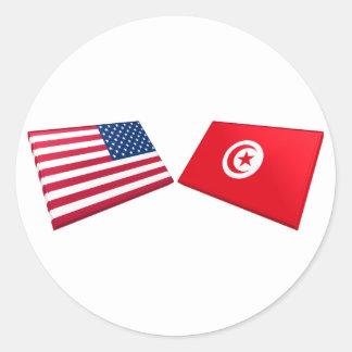 Banderas de los E E U U y de Túnez Pegatinas