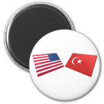 Banderas de los E.E.U.U. y de Turquía Iman De Nevera