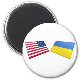 Banderas de los E.E.U.U. y de Ucrania Iman Para Frigorífico