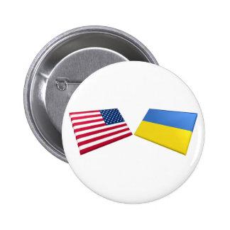 Banderas de los E.E.U.U. y de Ucrania Pin
