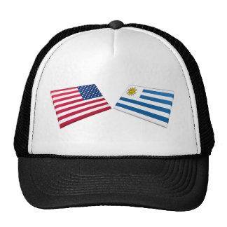 Banderas de los E.E.U.U. y de Uruguay Gorro De Camionero