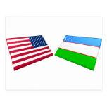 Banderas de los E.E.U.U. y de Uzbekistán Postal