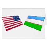 Banderas de los E.E.U.U. y de Uzbekistán Felicitaciones