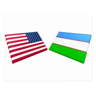 Banderas de los E E U U y de Uzbekistán Tarjetas Postales