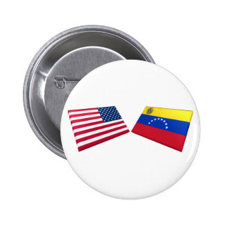 Banderas de los E.E.U.U. y de Venezuela Pin
