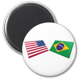Banderas de los E.E.U.U. y del Brasil Imán Redondo 5 Cm