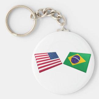 Banderas de los E.E.U.U. y del Brasil Llavero Redondo Tipo Pin
