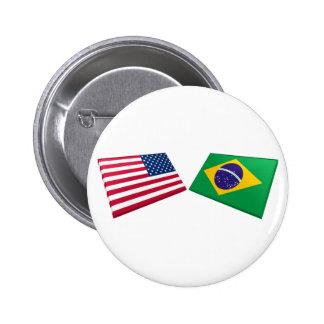 Banderas de los E.E.U.U. y del Brasil Pin Redondo 5 Cm