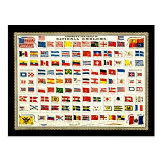 Banderas de los países - carta del vintage tarjetas postales