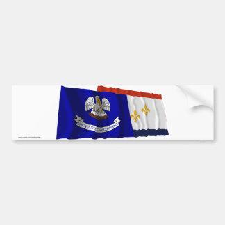 Banderas de Luisiana y de New Orleans Etiqueta De Parachoque