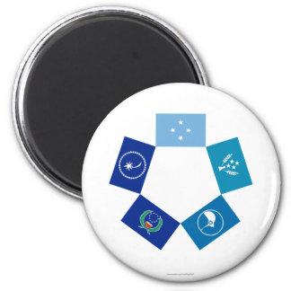 Banderas de Micronesia y de sus estados Imán Redondo 5 Cm