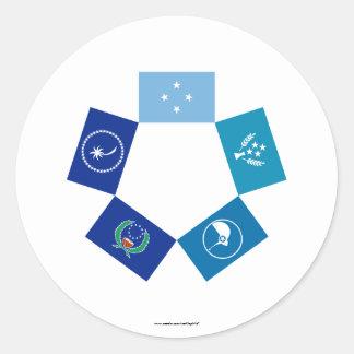 Banderas de Micronesia y de sus estados Etiqueta Redonda