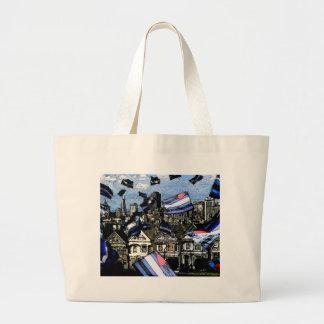 Banderas de orgullo de cuero sobre San Francisco Bolsa Lienzo