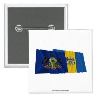 Banderas de Pennsylvania y de Philadelphia Pin Cuadrada 5 Cm