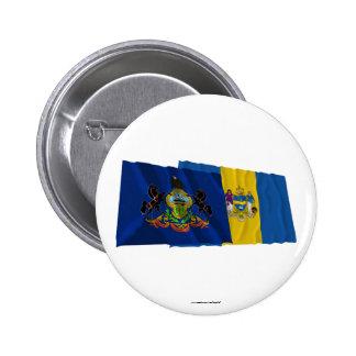 Banderas de Pennsylvania y de Philadelphia Pin Redondo 5 Cm