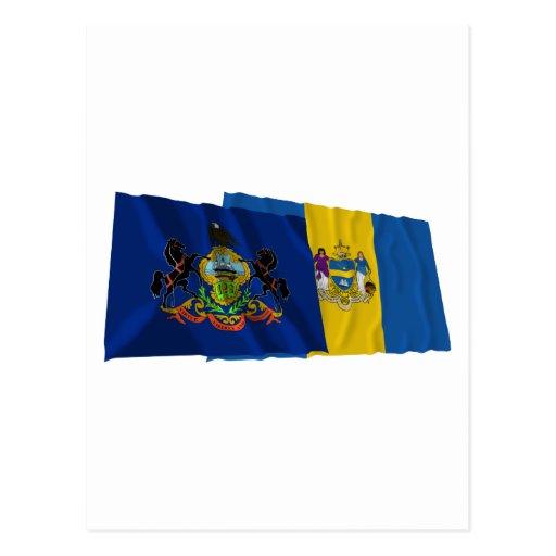 Banderas de Pennsylvania y de Philadelphia Tarjeta Postal
