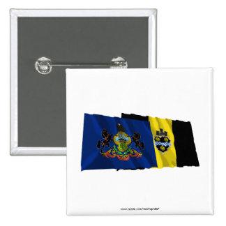 Banderas de Pennsylvania y de Pittsburgh Pin Cuadrada 5 Cm