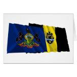 Banderas de Pennsylvania y de Pittsburgh Felicitacion