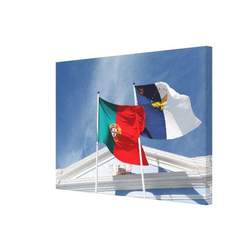 Banderas de Portugal y de Azores Lienzo Envuelto Para Galerias