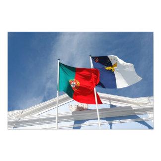 Banderas de Portugal y de Azores Impresion Fotografica