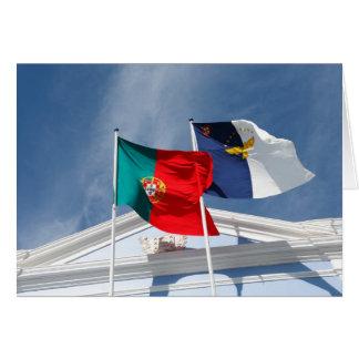 Banderas de Portugal y de Azores Tarjetón