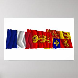 Banderas de Pyrénées-Atlantiques, de Aquitania y d Posters